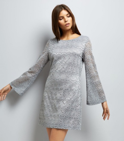 Mela Grey Lace Flared Sleeve Dress, New Look, £28