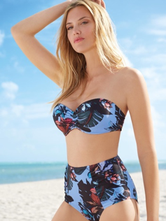 Blue Tropical High Waist Bikini from Peacocks