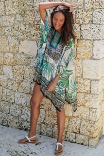 Green Palm Print Kaftan from Next