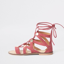 Pink Suede Caged Tie-Up Sandal from River Island