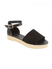 Women's Black Open Toe Espadrille Sandals from Peacocks