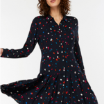 Black Stevie Spot Print Shirt Dress, Monsoon