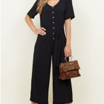 Black Button Front Belted Jumpsuit