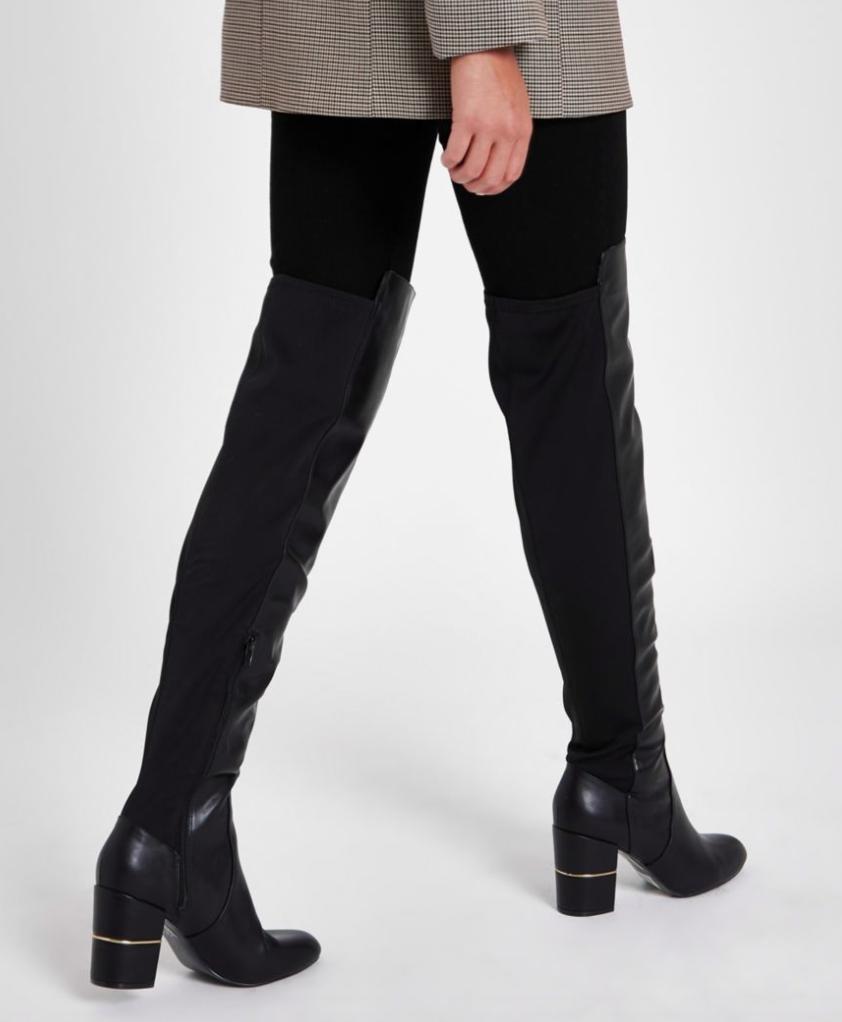 Black Over the Knee Block Heel Boots, River Island, £75