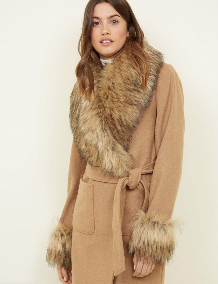 Camel Detachable Faux Fur Trim Coat, New Look, £54.99