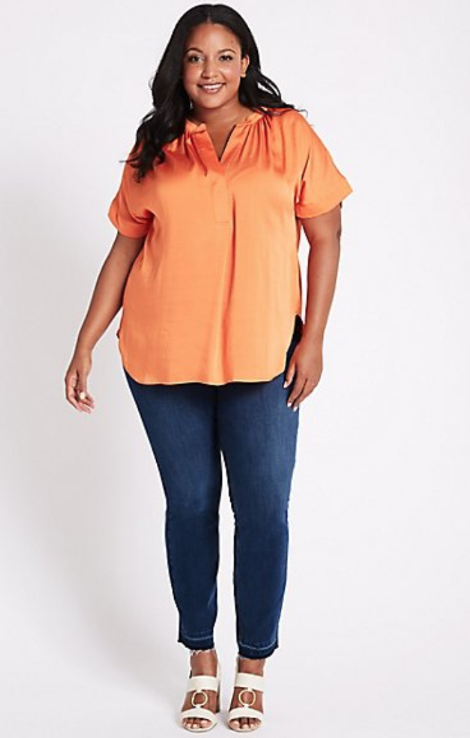 CURVE Drop Hem High Waist Skinny Leg Jeans, Marks and Spencer, £29.50